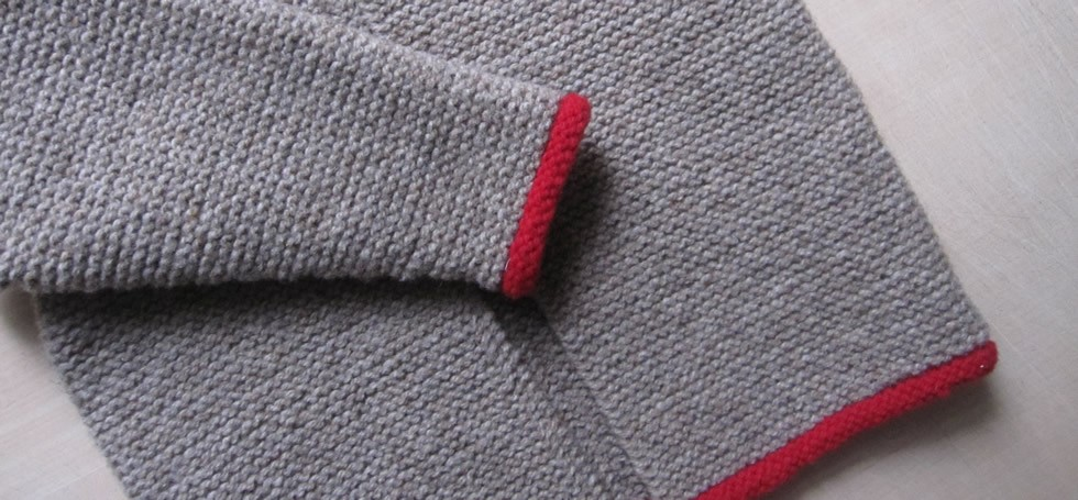 Detail of children's jacket in garter stitch