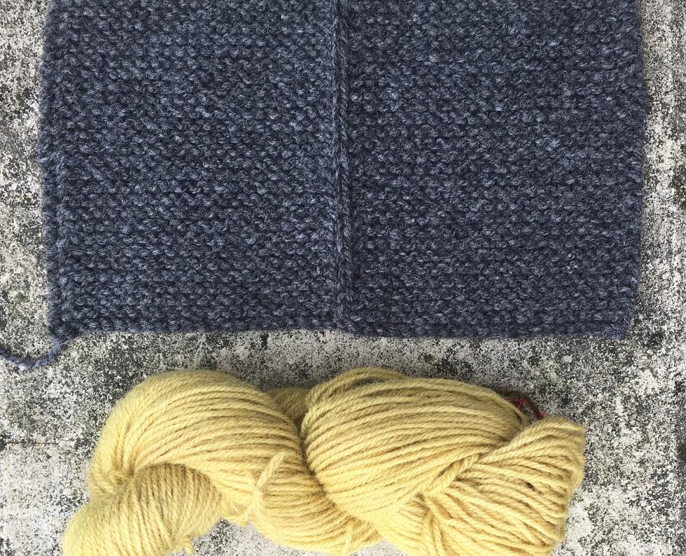 Maschenprobe für einen Männerjanker in anthrazit mit Strickwolle für die Blende, mit Goldrute senfgelb gefärbt